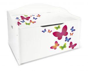 Coffre XL à jouets en bois motif- Papillons, récipient pour les jouets, banc reglable