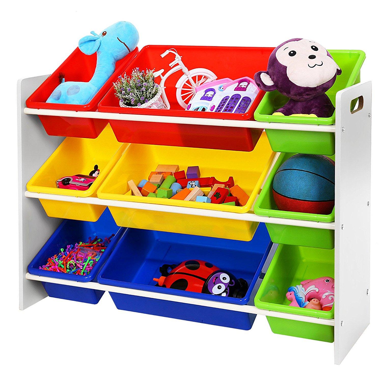 Songmics meuble de rangement pour jouets et livres chambre d enfant gkr02w b b cool - Meuble de rangement pour jouet ...