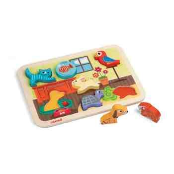 cadeau garcon 1 an - Janod - J07024 - Chunky Puzzle Bois Animaux 7 pcs