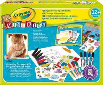 cadeau garcon 2 ans - Crayola Mini Kids - 10570 - Kit de Loisir Créatif - coloriage et gommettes