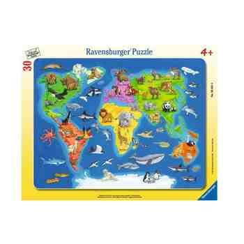 cadeau garcon 4 ans - Ravensburger - 06641 - Puzzle Cadre - Animaux du Monde - 30 Pièces