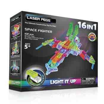 cadeau garcon 5 ans - Laser Pegs - Jolzfig16-00000 - Power Base - 16 En 1 - Space Fighter - 102 Pièces