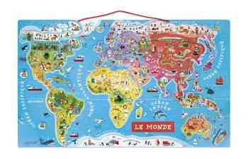 cadeau garcon 6 ans - Janod - J05500 - Puzzle Monde magnétique 92 pcs