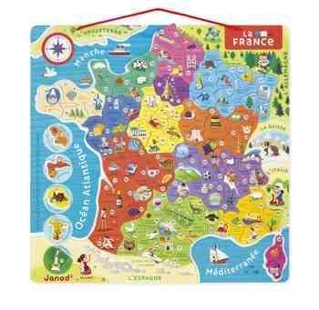 cadeau garcon 7 ans - Janod - J05480 - Puzzle France Magnétique 93 Pièces - Bois - Nouvelles Régions 2016